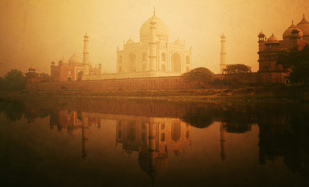 Golden textured picture of the Taj Mahal scenery.