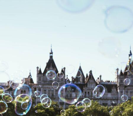 Soap bubble and parliament building Stok Fotoğraf