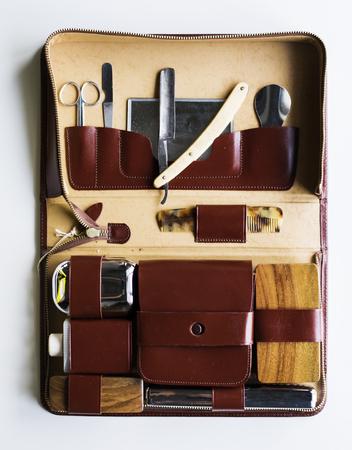 Man shaving kit leather case