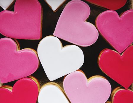다채로운 쿠키 하트 모양 장식 사랑 Smitten 발렌타인 스톡 콘텐츠