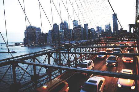 A view of New York city at night time Фото со стока