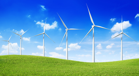 Group of  Wind Turbines on the green hill