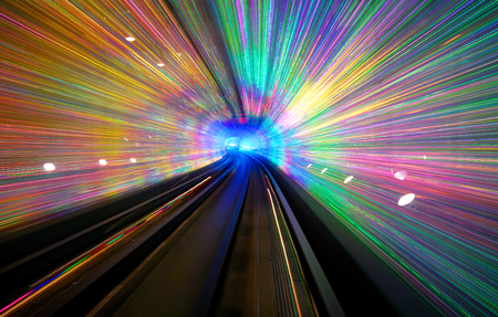 Long exposure of a tunnel with a light display in Shanghai. Imagens