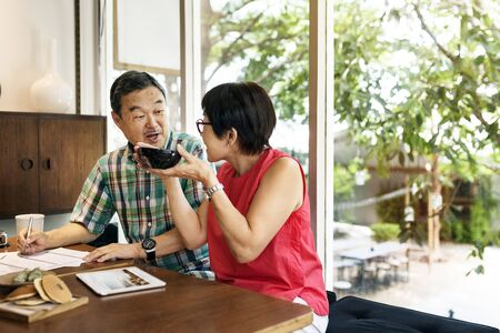 Senior Asian couple dating