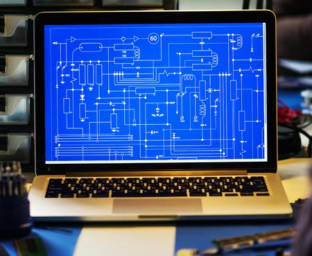 Computer laptop showing electronic circuit pattern Reklamní fotografie