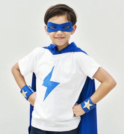 슈퍼 영웅이 된 소년 스톡 콘텐츠