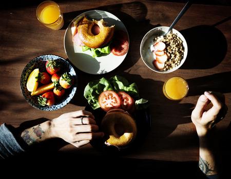 Healthy breakfast on wooden table Фото со стока