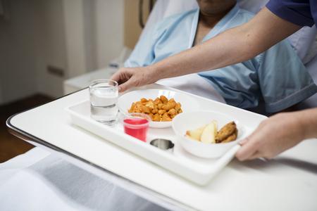 Comida hospitalaria para pacientes Foto de archivo