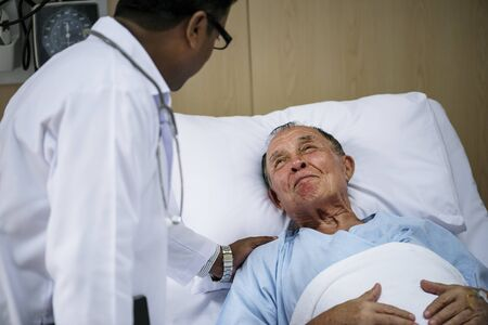 A sick elderly is staying at the hospital Banco de Imagens - 89593247
