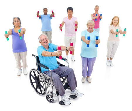 Healthy senior people at the gym Stok Fotoğraf - 90180550