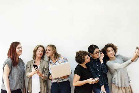 Diverse group of women hanging out