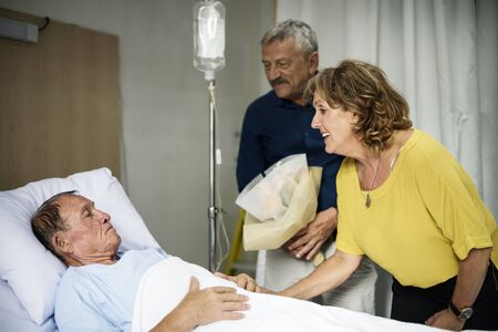 A sick elderly staying at a hospital Banco de Imagens - 89668114