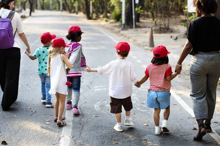 Diverse group of children on a fieldrtip