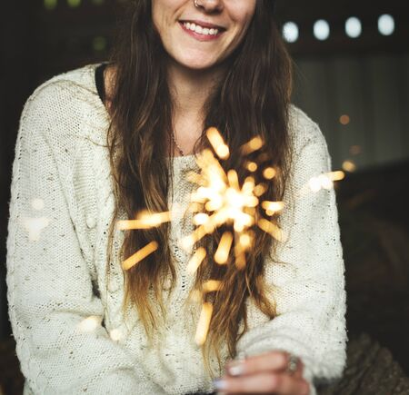 Woman Sparkler Celebration Happiness Firework Concept Stock Photo