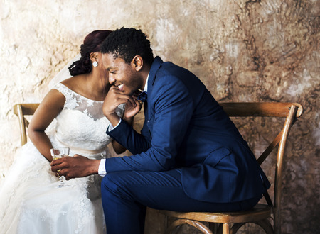 Newlywed African Descent Couple Wedding Celebration