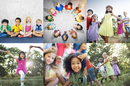 Group of diverse kids studio portrait