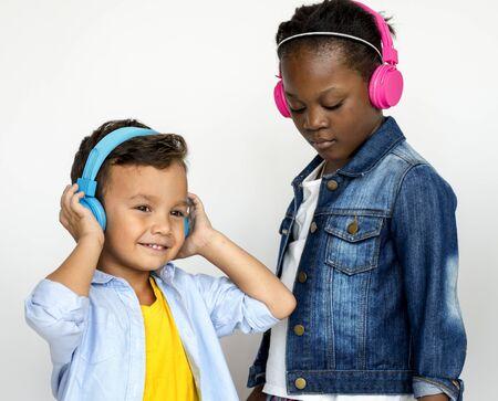 Kid Studio Shoot Using Headphone Listening Music
