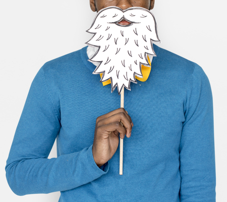 African Man Holding Paper Beard Stock fotó