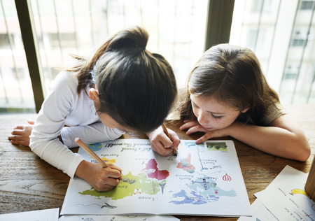 Little girls drawing