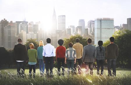 Group of People Looking Building Metropolitan Concept