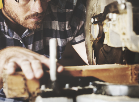 Artisan working with wood Stock Photo