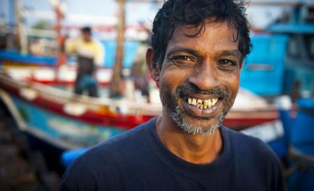 웃는 스리랑카 어부 스톡 콘텐츠