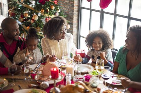 Group of diverse people are gathering for christmas holiday