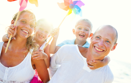 A Caucasian family is enjoying summer vacation Stock Photo