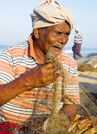 Indian Fisherman, Kerela, India. Stock Photo