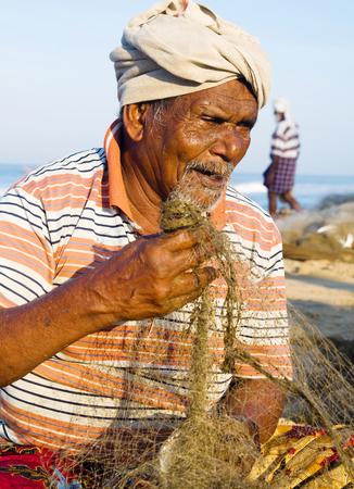indian subcontinent ethnicity: Indian Fisherman, Kerela, India. Stock Photo