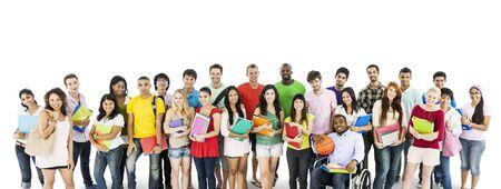白で孤立した多様な大学生のグループ 写真素材