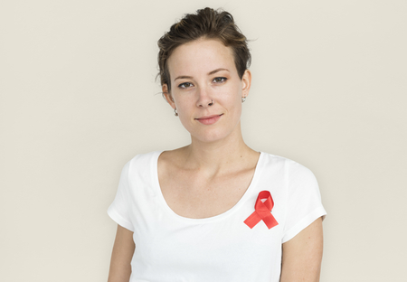 Woman Smiling Happiness Red Ribbon Charity Donation 版權商用圖片