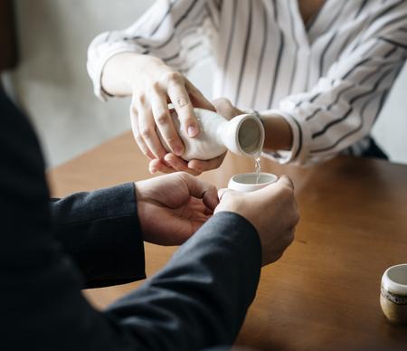 Pouring sake Stock fotó