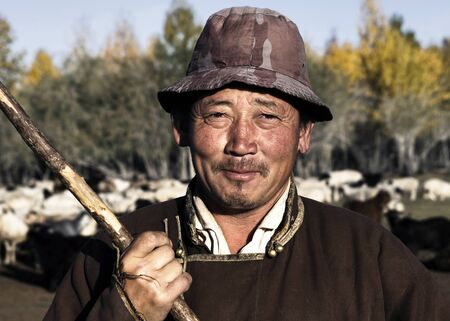 Portrait of Mongolian farmer.