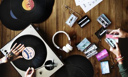 Retro feeling with vinyl records Фото со стока