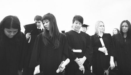 Group of diverse graduating students