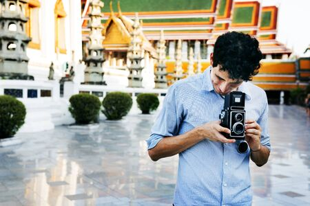 Kaukasische fotograaf Stockfoto
