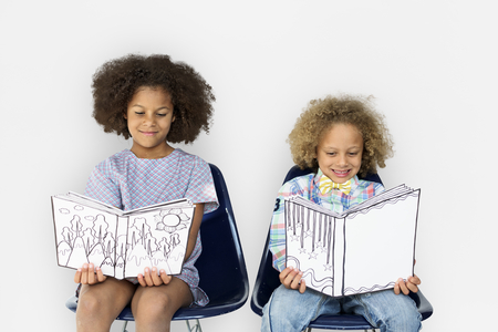 Little Children Reading Book Smile Banco de Imagens
