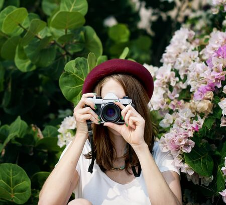 picture framing: Girl Woman Camera Casual Photograph Photo Concept Stock Photo