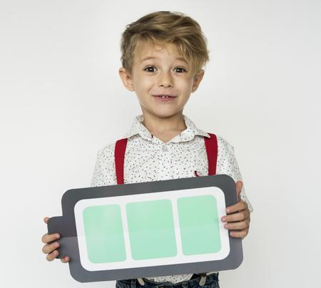 Boy Holding Papercraft Full Battery Icon