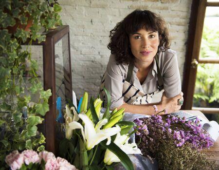 Flower shop owner Stok Fotoğraf
