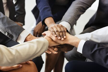 Business people joined hands together as teamwork
