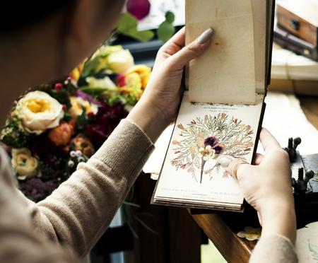 Hands holding dried flower book Stok Fotoğraf
