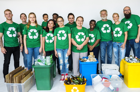 People supporting recycling and the environment