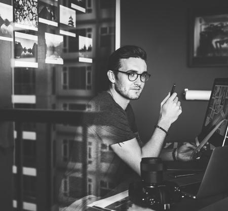 Caucasian man working shoot Stock Photo - 89611403