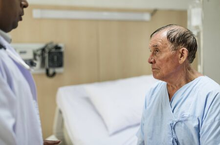 A sick elderly is staying at the hospital Banco de Imagens - 90598117