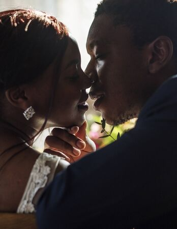 Newlywed African Descent Bride Kissing Groom Wedding Celebration Stock Photo