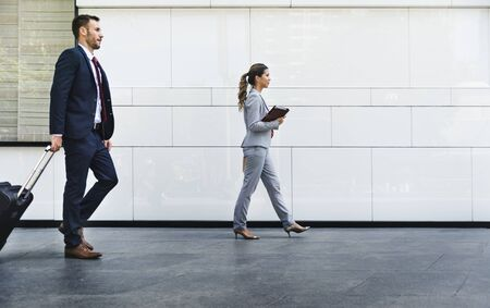 Caucasian man and woman colleagues business shoot  Stock Photo