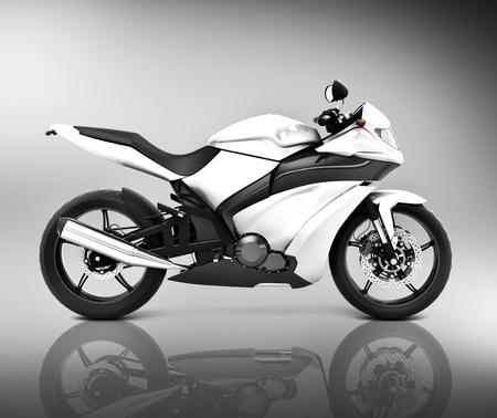 白い大きなバイクのイラスト