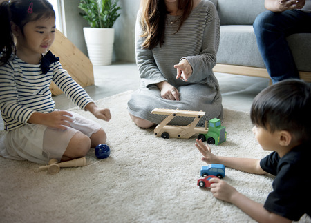 Japanese family spending time together 스톡 콘텐츠